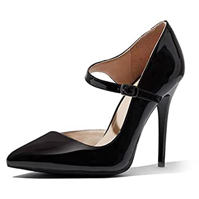 DailyShoes Women's Classic D'Orsay Slip On Strap Stiletto Pointed Toe Paris-03 High Heel Dress Pump Shoes Black Size: 5