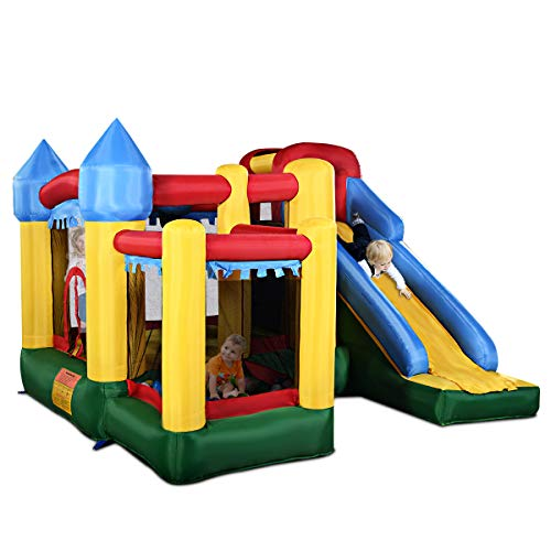 Costzon Mighty Inflatable Bounce House, Castle Jumper Moonwalk Slide Bouncer, Kids Jumper with Balls (Bounce House Without Blower)