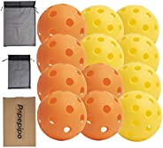 Papepipo Pickleball Balls for Outdoor and Indoor,Set of 3,9,12 Pack (Yellow Green Outdoor Pickleballs+Orange I