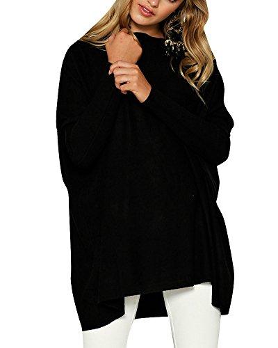 Pull Casual Large Femme Top Tunique Noir Mini Manches Blouse Longues Robe Pullover Haut rzrSq
