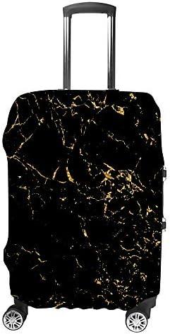 スーツケースカバー トラベルケース 荷物カバー 弾性素材 傷を防ぐ ほこりや汚れを防ぐ 個性 出張 男性と女性黒と金のモザイクの背景