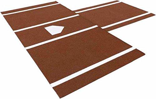 Premium 12' X 6' Baseball/Softball Hitting Mat in Clay w/Catchers Box Extension