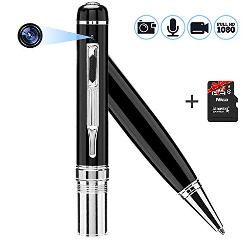 Camera Pen 1080p HD, HD Surveillance Camera Mini Security Device for Your House & Office + Bundle Gift 16GB SD Micro Card