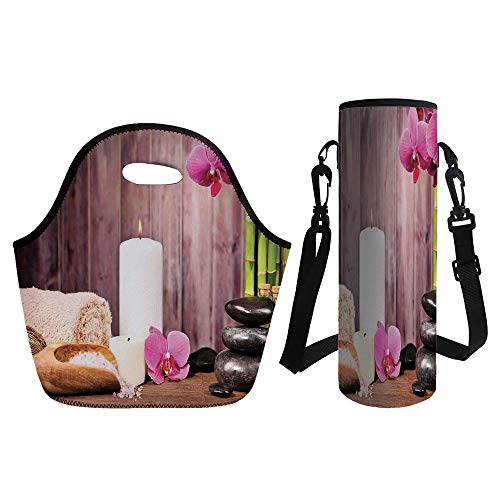 (3D Print Neoprene lunch Bag with Kit Neoprene Bottle Cover,Spa Decor,Spa Candlelight Plants Wooden Wall Sea Salt Treatment Freshness Relaxing,for Adults Kids)