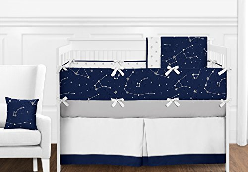 9 pc. Navy Blue, Grey and White Constellation Moon and Stars Boys Baby Bedding Crib Set with Bumper by Sweet Jojo Designs by Sweet Jojo Designs
