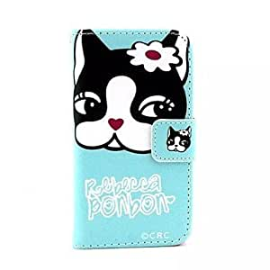 JJE Lovely Cat Pattern PU Leather Full Body Case with Stand and Card Slot and Money Holder for iPhone 4/4S