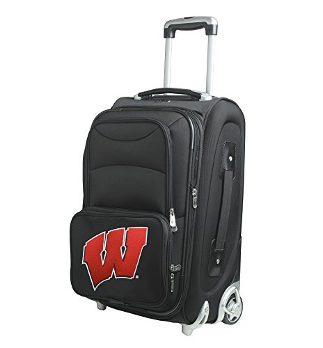 NCAA Wisconsin Badgers In-Line Skate Wheel Carry-On Luggage, 21-Inch, Black by Denco