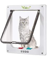 Ycozy Ultra-Thin Cat Doors, Max. Installation Thickness 1.0in, 4-Way Locking Cat Flap Indoor Pet Door for Cats/Kitties/Small Dogs Easy Install on Interior/Exterior Doors, Windows, Cupboards, Walls