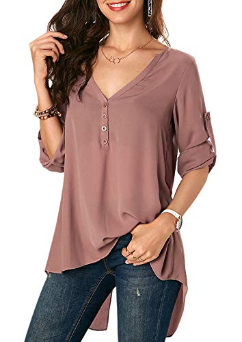 Tops de v en con blusa Camisas gasa manga abibi mujer de para con Caf larga cuello pqgvw