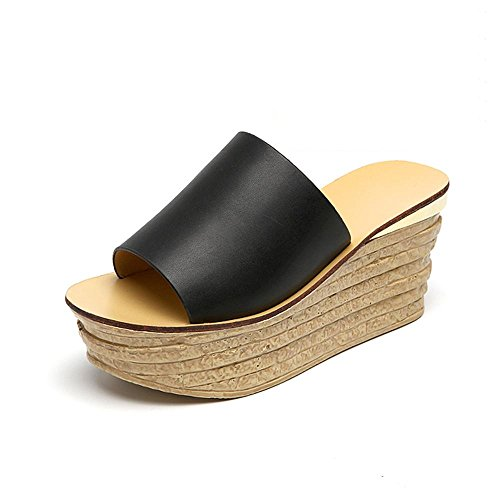 Heart&M Moda Todo-fósforo de tacón de cuña del tacón alto de las mujeres del mollete suela de plataforma sandalias de los deslizadores black 8cm