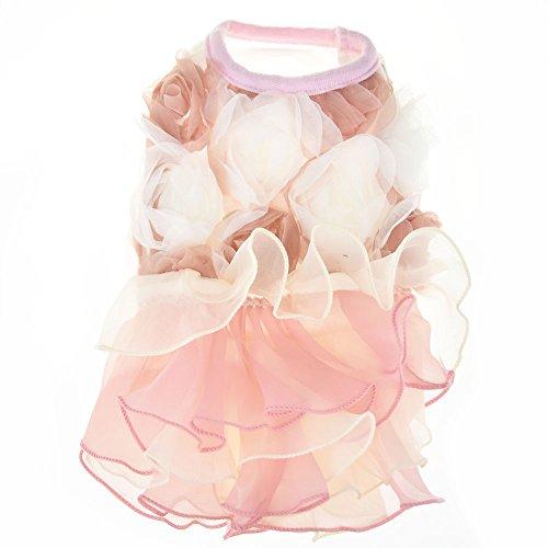 3D Chiffon Rose Dog Dress For Cat Pet Dog Skirt Dog Wedding Dress Outfits Apparel Summer Small Dog Shirt Clothes (L(Back12.9'' Bust18.8), Pink) by DIAN DIAN Pet (Image #2)
