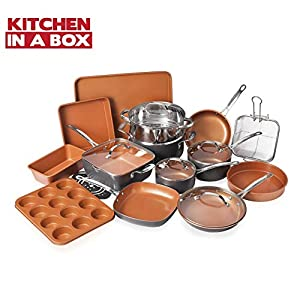 Gotham-Steel-20-Piece-All-in-One-Kitchen-Cookware-Bakeware-Set-with-Nonstick-Durable-Ceramic-Copper-Coating--Includes-Skillets-Stock-Pots-Deep-Square-Fry-Basket-Cookie-Sheet-and-Baking-Pans