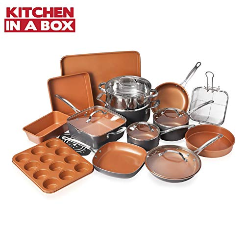 Gotham Steel Cookware + Bakeware Set with Nonstick Durable Ceramic Copper Coating – Includes Skillets, Stock Pots, Deep… 1