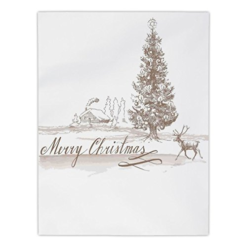Polyester Rectangular Tablecloth,Christmas Decorations,Romantic Vintage New Year Scene with Reindeer Tree Star Holy Design Image,Brown,Dining Room Kitchen Picnic Table Cloth Cover,for Outdoor Indoor by iPrint