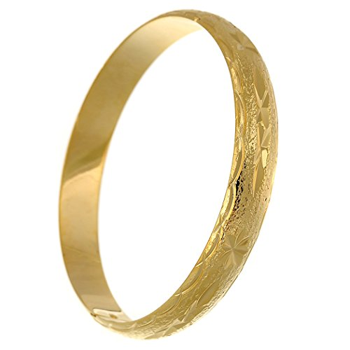 loyoe jewelry 24k Gold Filled Handcarved Star Pattern Bangle Bracelet for Womens Wristband (10mm)