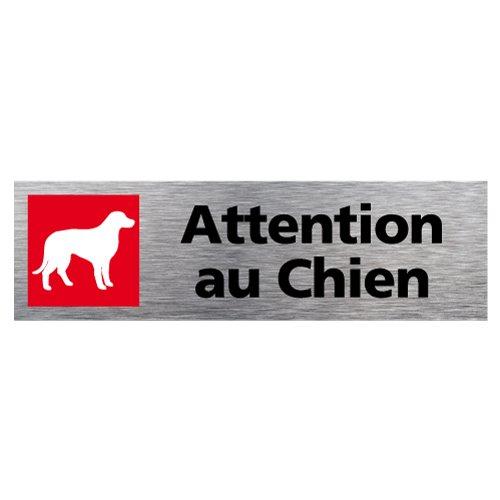 Plaque de porte Attention au Chien - Adhésif Autocollant Sticker aspect Aluminium Brossé - Pictogramme Attention au Chien Porte Rectangle Dimensions 170 x 50 mm - Attention au Chien Signalétique.biz France Q0153