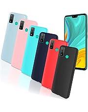 جراب HYMY لهاتف HUAWEI Y8S - 6 قطع من جل السيليكون الناعم لحماية ظهر الهاتف من الجلد الأسود والأزرق الداكن والأحمر والأخضر والوردي والأبيض