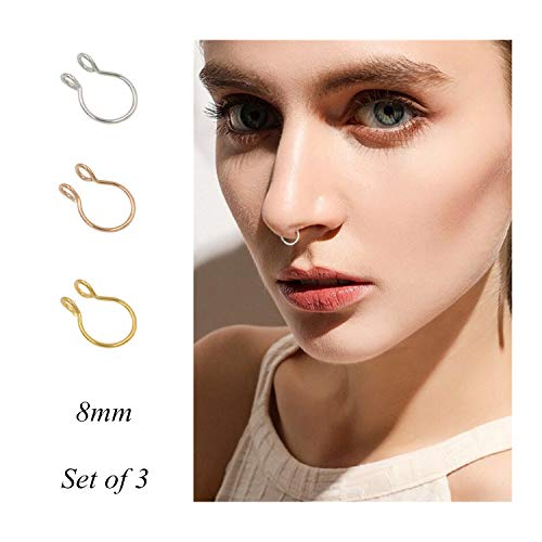 Fake Septum Nose Ring Fake Nose Rings 20g Hoop Nose Ring Gold Rose Gold Silver 8mm Non Pierced Clip Nose Ring Faux Body Piercing Jewelry for Women Men