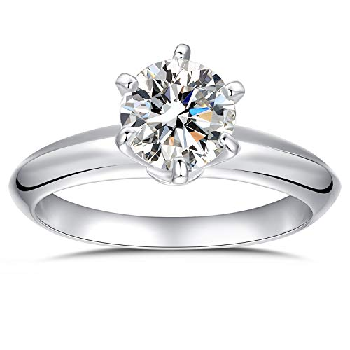 espere Platinum Plated Sterling Silver Round Cut 2ct Solitaire Engagement Ring 6 Prongs 14k White Gold Six Prong