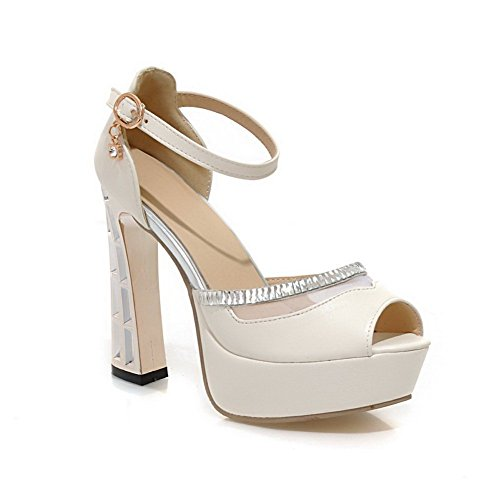 1to9Ladies electroplate talón high-heels material suave sandalias blanco