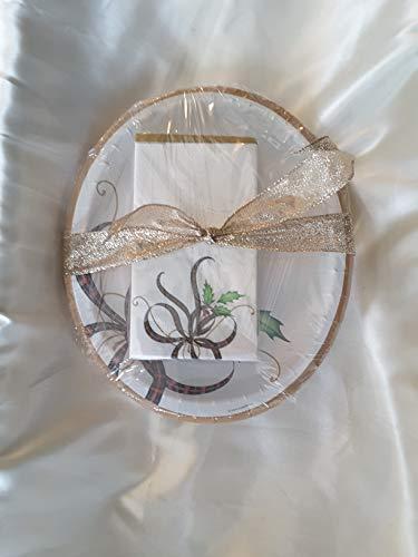 C.R. Gibson Lenox Holiday Nouveau Ribbon Disposable Paper Plates & Napkins Bundle Serves 8 with Bonus Oval Platters & Guest Napkins Total Pieces 80