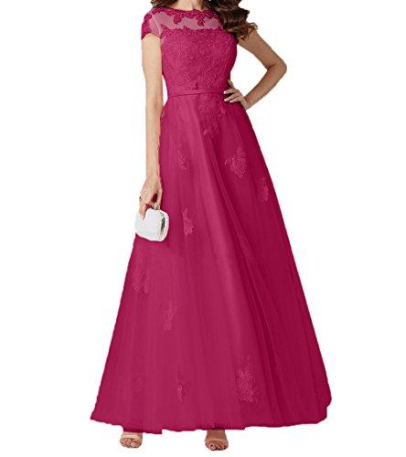 Charmant Abschlussballkleider Lang Spitze Rock Fuchsia Linie Romantisch Brautmutterkleider Damen Kurzarm Promkleider Abendkleider A r0Awfrq