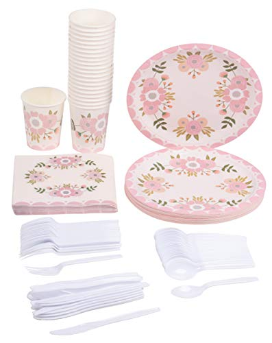 Disposable Dinnerware Set - Serves 24 - Vintage Floral Party Supplies for Birthdays, Weddings, Bridal Showers, Includes Plastic Knives, Spoons, Forks, Paper Plates, Napkins, Cups ()