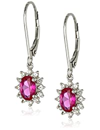 Sterling Silver Created White Sapphire Dangle Earrings