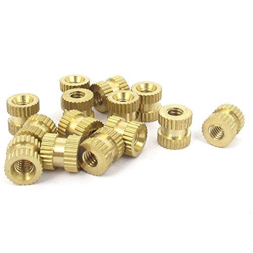 8 Inch-32x8mmx8mm Metric Threaded Brass Knurl Round Insert Nuts 15 Pcs