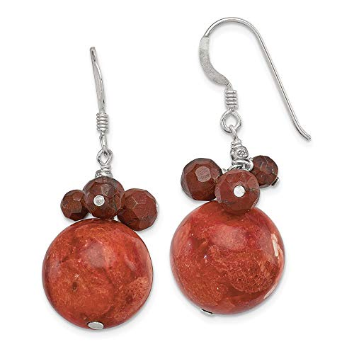 (Sterling Silver Jewelry Drop & Dangle Earrings Solid 14 mm 32 mm Faceted Red Jasper 14mm Reconstituted Coral Earrings)
