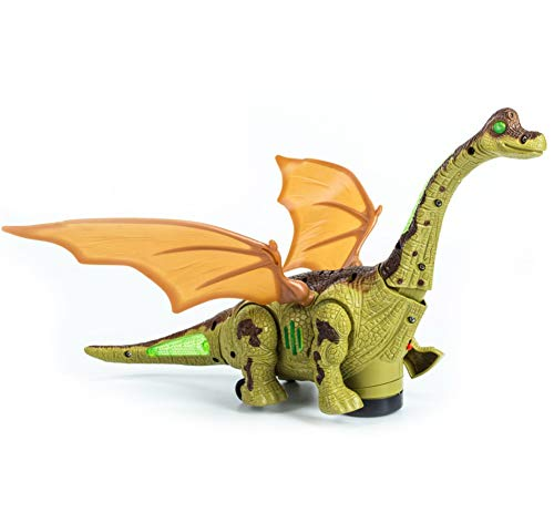 Mrocioa Electronic Dinosaur Toys Walking with Light up&Sound,Big Dino Action Figure 40cm Long for Toddler Boys,Shaking its Tail and Long Neck (Green) -