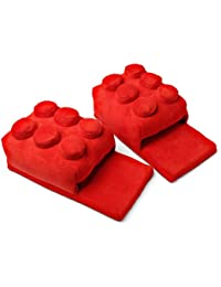 Building Brick Slippers Red One Size Fits Most