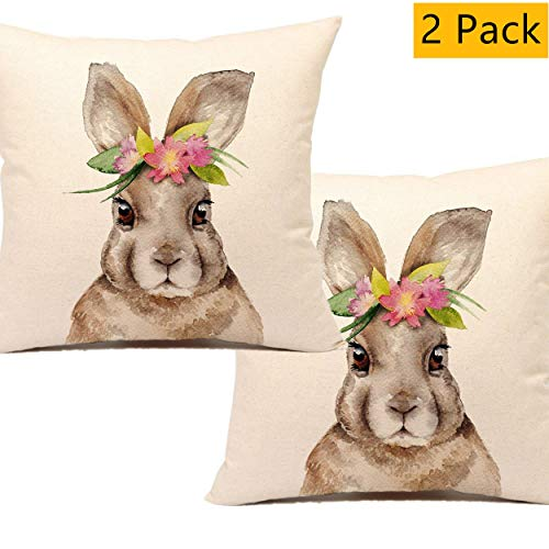 (Unibedding Easter Rabbit Throw Pillow Cover Case Cute Bunny Cushion Cover Spring Home Decoration Cotton Linen 18 x 18 Inch, 2 Pack)