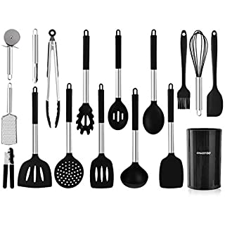 Silicone Kitchen Cooking Utensils Set, 17 Pcs Kitchen Utensil Set, Nonstick Rubber Heat Resistant Silicone, Cookware with Stainless Steel Handle, Machine Washable, Black