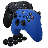 YoRHa Silicone Cover Skin Case for Microsoft Xbox One X & Xbox One S controller x 2(black&blue) With PRO thumb grips x 8 Review