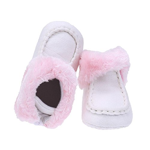 Domybest Winter Baby Prewalker Warme Fleece Schneeschuhe Einfarbig Erste Wanderer Weiß