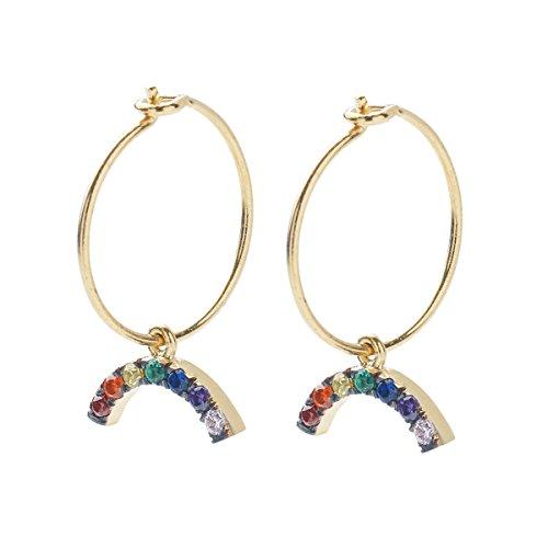 IAM by Ileana Makri Boucles d'Oreilles Or Jaune 10carats (417/1000) Ronde Zircon cubique Multicolore Femme