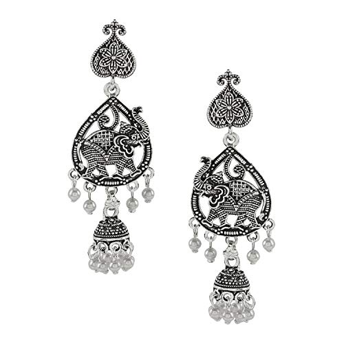 Bodha Silver Plated Oxidised Elephant Jhumka Earring with Pearl Hanging for Women (SJ_1459) ()