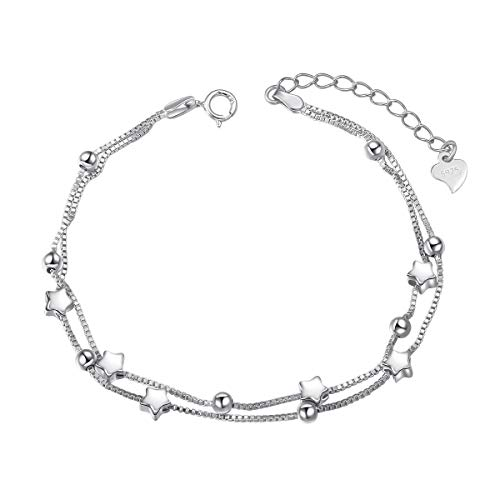 S925 Sterling Silver Jewelry Stars Double Chain Bracelet Friendship Adjustable Beads Charm Bracelet Gift for Womens Girls