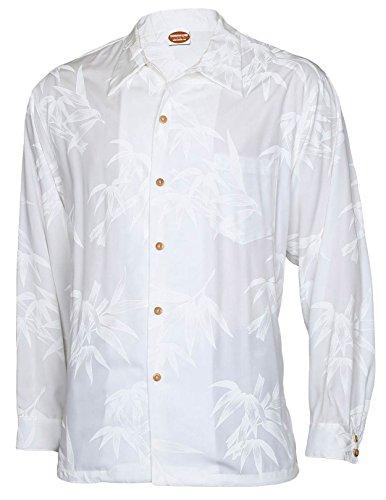 Long Sleeves Hawaiian Wedding Shirt Rayon Tropical Bamboo Design, MEDIUM, WHITE by Hawaiian Aloha Fashions