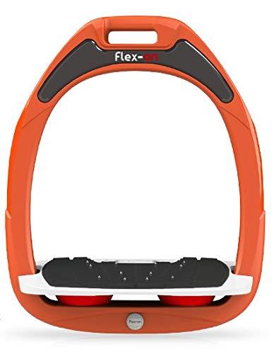 【 限定】フレクソン(Flex-On) 鐙 ガンマセーフオン GAMME SAFE-ON Mixed ultra-grip フレームカラー: オレンジ フットベッドカラー: ホワイト エラストマー: レッド 09013   B07KMF4Y4H