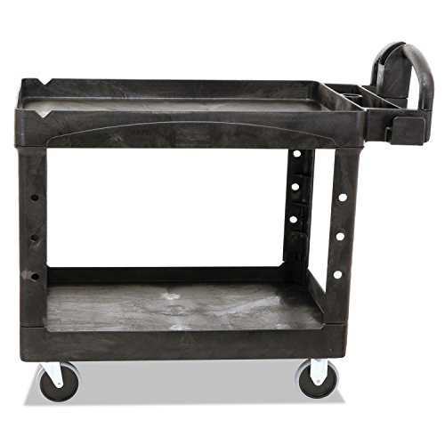 Rubbermaid Commercial 452088BK Heavy-Duty Utility Cart Two-Shelf 25-1/4w x 44d x 39h Black
