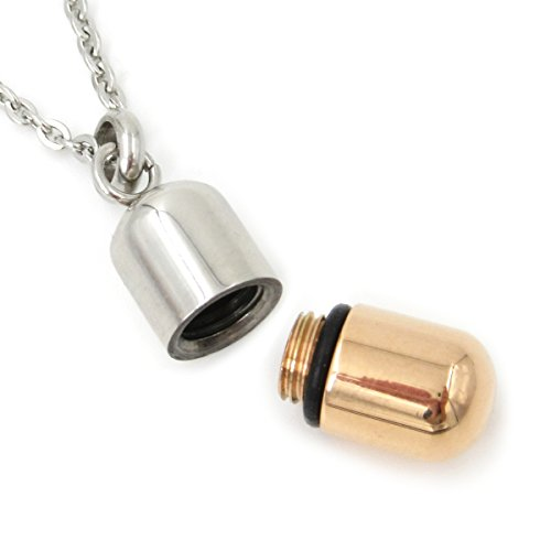 Stainless Steel 2 Tone Silver Rose Gold Openable Pill Capsule Pendant Necklace