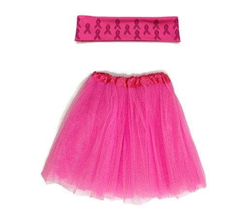 Rush Dance Breast Cancer Awareness Ribbon Runner's Tutu & Matching Headband ()