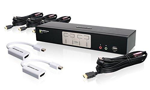 IOGEAR 4-Port HDMI and Mini DisplayPort KVMP Kit with USB Hub and Audio, GCS1794MDPKIT