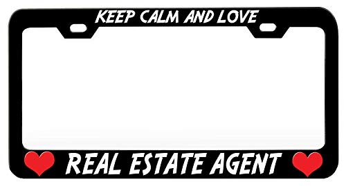 HuiyaoEC Show Your Pride with Custom Keep Calm and Love Real Estate Agent Frame for License Plate. Car Tag Plate Holder. 2 Holes & Screws