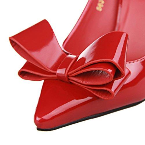 HooH Damen Bowknot Pointed Toe Süßigkeit Farben Abendschuhe Pumps Rot