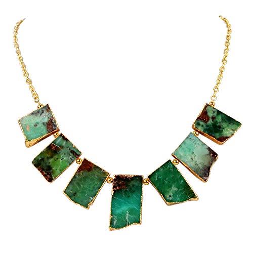 ZENGORI 1Pcs Gold Plated Natural Australia Jade Chain Pendant Necklace 20