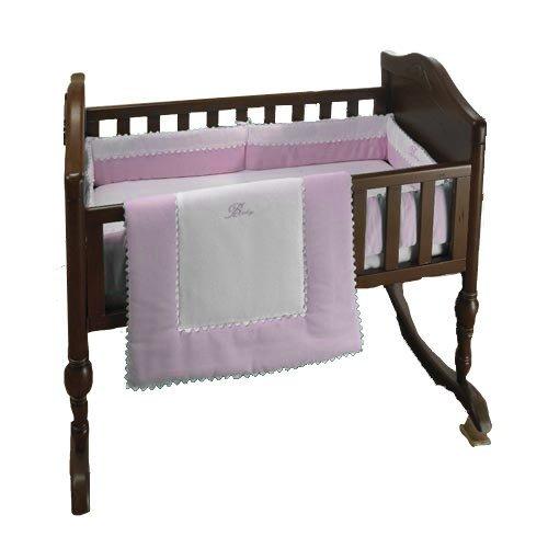 bkb Ric Rac Cradle Bedding, Pink, 15'' X 33'', Green, 15'' X 33''