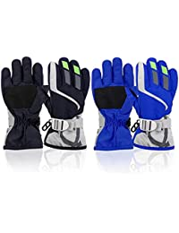 2 Pairs Toddler Girls Boys Snow Gloves Kids Ski Winter Gloves Waterproof Children Warm Adjustable Gloves